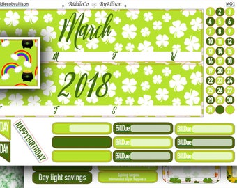 """March 2018 Monthly Planner Sticker Kit """"Lucky"""": Made to fit Erin Condren Life Planner"""