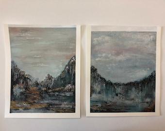 "11 x 14 ""Refuge"" Original Acrylic Landscape on Paper"