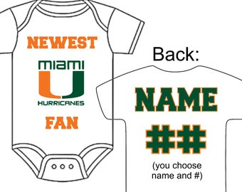 Miami baby etsy newest miami hurricanes fan custom made personalized football gerber onesie jersey optional socks hat choose negle Image collections