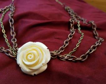 Vintage Steampunk Rose Necklace