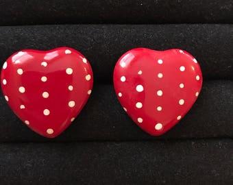 Heart shaped polka dot earrings