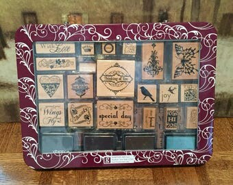 Wood Mounted Rubber Stamp Set-Hampton Art-Studio G-with ink pads