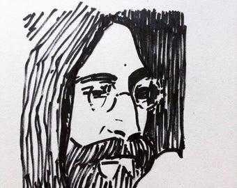 The marker portrait of John Lennon