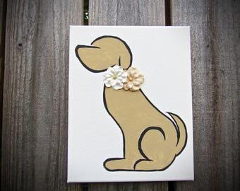 Dog Silhouette 8x10 Canvas