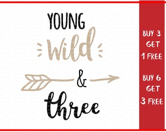 Young Wild and Three, Adventure svg, Cricut Silhouette cut files, third birthday svg, third birthday svg, birthday svg, birthday clipart,