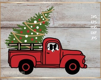 Christmas tree truck with border collie, Merry Christmas svg, christmas, Christmas tree svg, car svg, DXF, EPS, christmas pet
