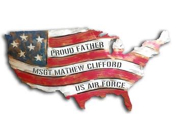 Personalized American Flag Red White and Blue Metal Wall Art