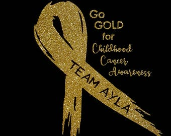 Personalized Car Decal - Glitter or Regular Gold - Childhood Cancer Awareness
