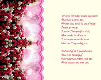 2 designs Pretty Floral Edge designs Birthday card inserts with verse