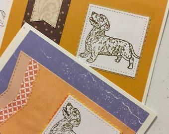8 Handmade greeting card set wirehair dachshund