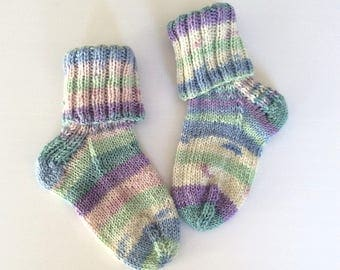 Hand knitted baby / toddler socks to fit 3.5 UK shoe approx., baby shower gift, pastel shades, boy or girl
