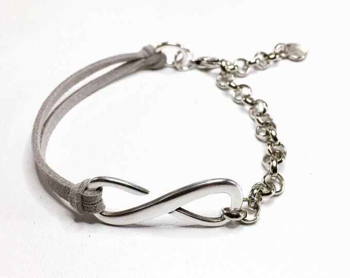 Free shipping inside en bracelet bracelet leather dqmetaal blue grey ladies bracelet handmade design