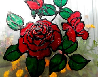 Roses art ,flowers art ,Stained glass sticker,glass door decal,roses art ,flowers decor