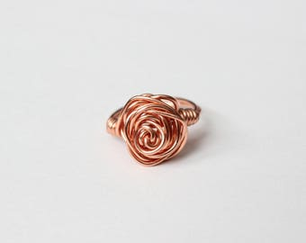 Rose Gold Wire Wrapped Rose Ring, Wire Ring, Rose Gold, Wire Wrapped Jewelry, For Her, Bridesmaids Ring