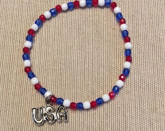 USA- Red, White, and Blue Bracelet