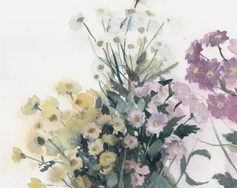 Original watercolor painting with daisies on white background / Flowers art / Home decor / Daisy wall art / Floral artwork / Romantic art
