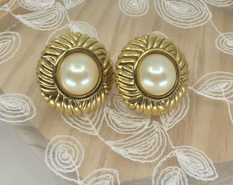 Vintage Swarovski faux pearl clip on earrings one of the first ever made, signed S.A.L.