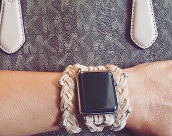 """Beige Braided Leather Women's Apple Watch Wrap Band **IMPORTANT: See """"Details"""" for wrist sizing**"""