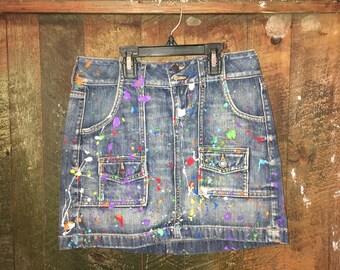 Paint splattered Denim mini skirt custom made any size