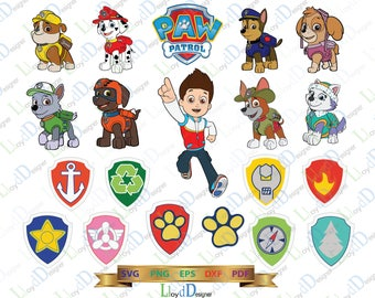 Paw Patrol SVG Paw Patrol logo shirt Paw patrol clipart Paw Patrol Birthday decor invitation party svg eps png dxf cut files cameo cricut
