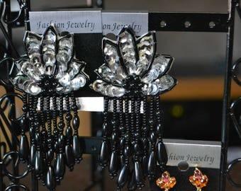 Vtg Silver sequin and beads Chandelier Earrings| Statement Earrings| Pierced