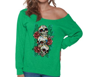 Sugar Skull Shirt Off Shoulder Sweatshirt for Women Skull Shirts Three Skulls Shirts and Red Roses shirt Dia De Los Muertos Shirt