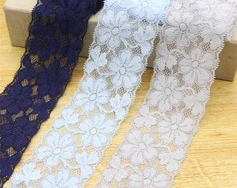"2yard/lot Elastic Lace 5.5cm(2.16"") wide, DIY garment accessories color Stretch Lace fabric-L008"