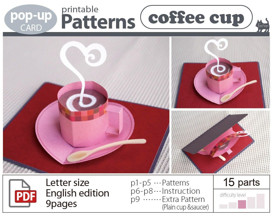 Pop Up Card Patterns Coffee Cup Download Sales From