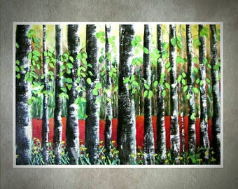 Landscape contemporary forest painting