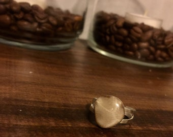 Petoskey stone adjustable ring