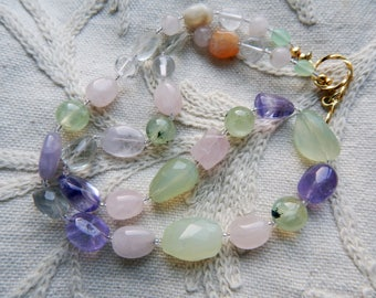 Pastel Shades Chunky Gemstone Beads Handmade Necklace - Green and Purple Amethyst Prehnite Rose Quartz Clear Quartz and Agate