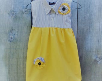 Hand Made Upcycled Girl's Dress from a Men's Shirt.  Yellow and Grey Dress.  Age 6 Dress