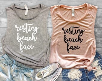 Resting Beach Face Tank//Vacation Tank//Tank for Her