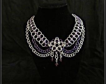 Chainmail Necklace w/ Swarovski Crystals