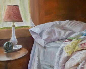 Morning: An unmade bed with cozy chenille bedspread, the gentle summer air flowing through the window. The perfect summer morning painting.