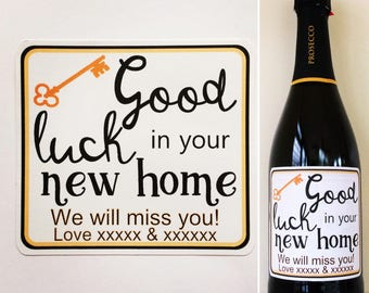 New Home Personalised wine/champagne/prosecco bottle sticker. Cheers to the Future Mrs