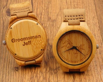 Engraved Bamboo Wooden Watch,Father Giftwith Genuine Leather,mens watch,groomsmen gift,wood watch,Boyfriend Gift,Wood leather watches