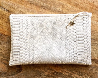 White imitation and Croc Clutch