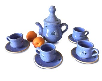 Vintage Italian Blue  Coffee Service: Coffee pot, 4 cups. Ceramics  Miniature Coffee Set