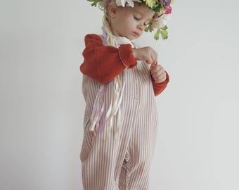 Cotton pink striped baby dungarees