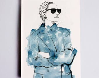 Jenny #2 Fashion Illustration Print, Fashion Sketch, Fashion Art, Fashion Poster, Fashion Drawing, Fashion Watercolour, Fashion Wall Art