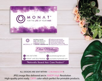 Monat Business Card, Custom Monat Business Card, Monat Watercolor Business Card, Custom Monat Hair Care Card, Printable Business Card MN07