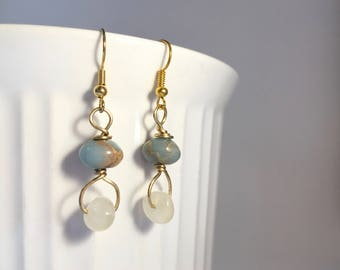 Jade Wire Wrapped Earrings - Jade and White