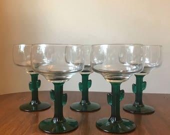 Vintage Cactus Margarita Glasses