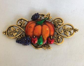 JJ Fall Harvest Pumpkin Vintage Brooch