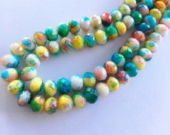 8mm Rondelle Faceted Painted Crystal Glass Beads (Rainbow Watercolor) - 40 pieces