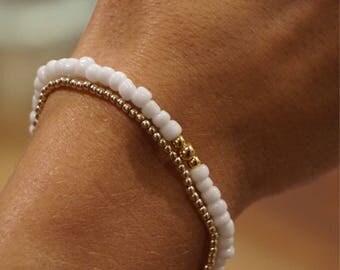 14kt Gold Plated White Beaded Bracelet
