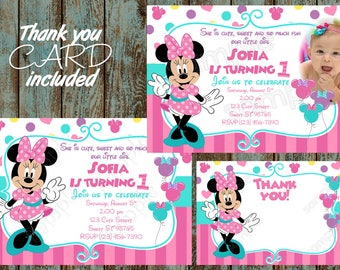 Minnie Mouse Invitation, Minnie Mouse First Birthday Invitation, Minnie Mouse 1st Birthday Invitation, Minnie Mouse Printable Invitation