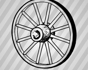 Wagon Wheel Silhouette Wheel - Svg Dxf Eps Silhouette Rld RDWorks Pdf Png AI Files Digital Cut Vector File Svg File Cricut Laser Cut