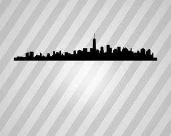 nyc skyline Silhouette - Svg Dxf Eps Silhouette Rld RDWorks Pdf Png AI Files Digital Cut Vector File Svg File Cricut Laser Cut